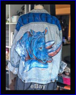 Vintage Lee Hand-Painted Denim Jacket Endangered Species Series Art on Denim Upcycled Sustainable Fashion