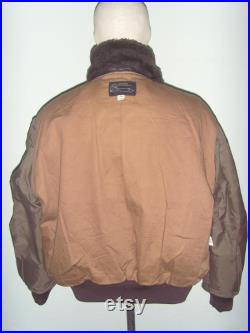 Vintage Leonhard Flying Leather Jacket Type G-1 , Leather Patched , Color Brown, 80's , Size 44 ,Made in USA , Excellent Condition