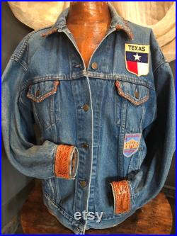 Vintage Levi s Denim Jacket with Tooled Leather Cuffs, Vintage TX Patches