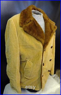 Vintage Men's JC Penney Towncraft Brown Gold Faux Fir Lined Corduroy Heavy Winter Jacket Size Large