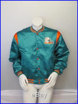 Vintage Miami Dolphins Satin Jacket by Swingster Helmet Logo Men's Large