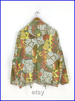 Vintage Nigel Cabourn Crazy Pattern Hooded Sweater Medium Nigel Cabourn Abstract Aztec Navajo Hoodie Jacket Size M