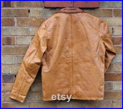 Vintage Oil Wax Real Leather jacket Mens, Streetwear Gaming Costume Distressed Tan Real Leather Coat XS-5X Customisation
