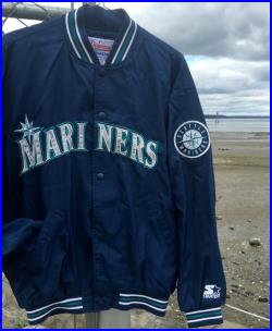 Vintage Rare Seattle Mariners Satin Jacket by STARTER XL, Hard to find, Adult Size with embroidery 90's