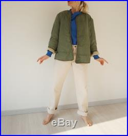 Vintage Reversible Liner Jacket Olive Green Cream Quilt Terry Cloth Liner Jacket Military Puffer Bomber Coat S M