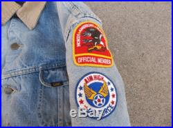 Vintage Storm Raiders Jeans Jacket 1980s Lee Air force Patches Destroyed Distressed Stained Worn In Medium Denim Faded California Collectors