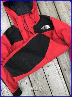 Vintage The North Face Gore Tex Mountain Guide Jacket Red TNF 90s Waterproof Ski Snow Rain Coat Small