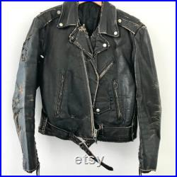 Vintage Thrashed Leather Biker Jacket Destroyed Motorcycle Punk Lacing Grunge 70's 60's Crust Repaired Distressed Ramones Clash Sex Pistols
