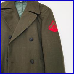 Vintage United States Marine Corps 3 4 Length Olive Green Wool Military Coat M L