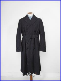 Vintage WW2 Raincoat US Navy Trench Coat Midnight Blue Belted Size Large