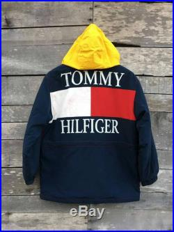 Vintage tommy hilfiger jacket with hoodie 90s bog logo spellout high fashion