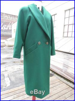 Vtg Gorgeous Dark Emerald Green Long Wool Doubled Breasted Shawl Collar Overcoat Women's M L 80's 90's 8 10