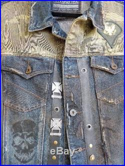 Walking Dead Inspired Denim Vest with Leather, Wasteland Vest, Post Apocalyptic, Mad Max Style, Dystopian, Punk, Distressed Denim