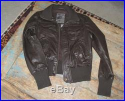 Women's Brown Leather Bomber with Knitted Collar, Cuffs and Waistband