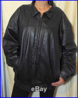 XXL 56 Hell Sphere Embroidered Black Leather Jacket
