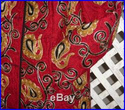 made with care lovely Uzbek silk hand embroidered red cotton jacket caftan kaftan cardigan suzani stitching 1373