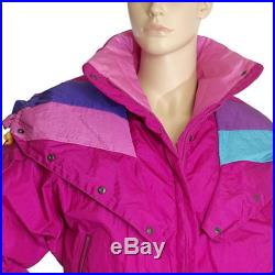 puffer jacket neon hot pink retro puffy sport ROFFE vintage 80s 1980s ski jacket colorblock streetwear hipster size mens SMALL womens LARGE
