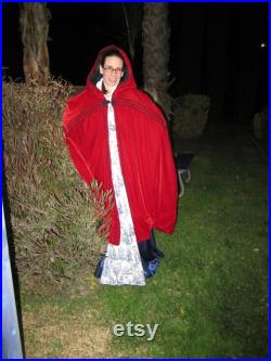 red velveteen cloak, fully lined, black lace trim