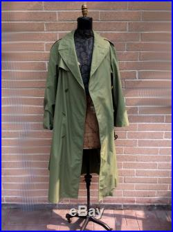 vintage French Military Officers Trench Over Coat Double Breasted Waterproof Rain Coat Field Coat Long Green Army Jacket 1964 Chest 46