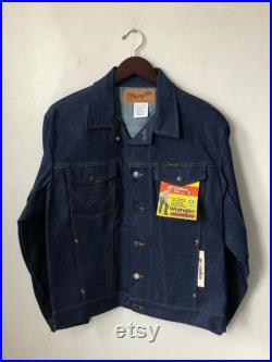 vintage wrangler cowboy cut denim jacket mens size 40 deadstock NWT 80s made in USA